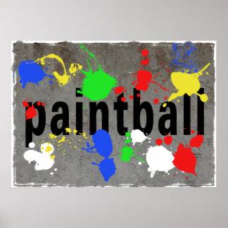 Salpicadura de Paintball en el muro de cemento Poster