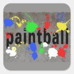 Salpicadura de Paintball en el muro de cemento Calcomanía Cuadrada