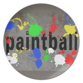 Salpicadura de Paintball en el muro de cemento Plato De Comida