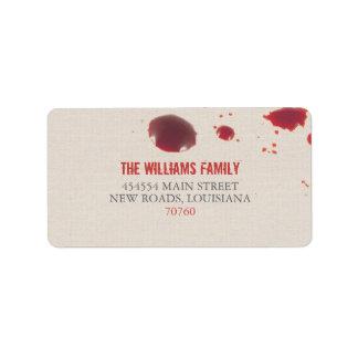 Salpicadura el   Halloween de la sangre Etiqueta De Dirección