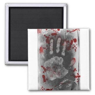 Salpicadura Handprint de la sangre Imán Cuadrado