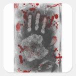 Salpicadura Handprint de la sangre Colcomanias Cuadradas