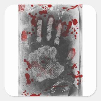 Salpicadura Handprint de la sangre Pegatina Cuadrada