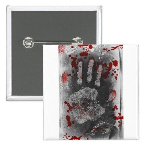 Salpicadura Handprint de la sangre Pin Cuadrada 5 Cm