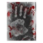 Salpicadura Handprint de la sangre Postales