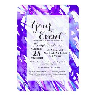 """Salpicadura púrpura y rosada de la pintura de la invitación 5"""" x 7"""""""