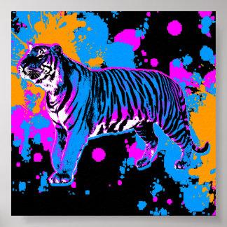Salpicadura retra de la pintura del tigre del póster