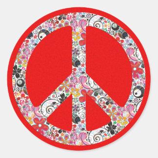 Salpicadura roja del fuego de la paz I el | del Etiquetas Redondas