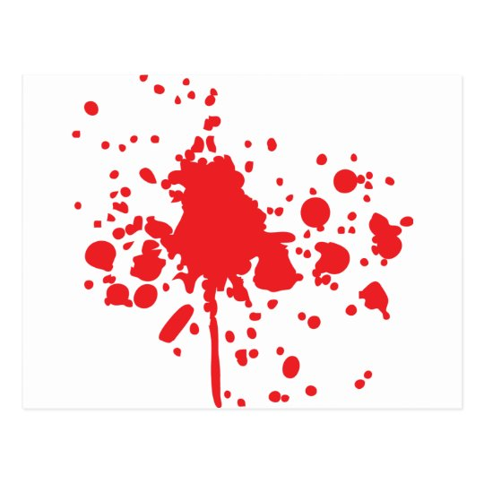 salpicadura roja humana de la sangre tarjeta postal