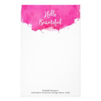 Salpicadura rosada de la pintura de la acuarela papelería