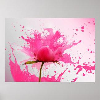 Salpicadura rosada de la pintura del extracto de póster