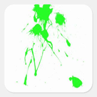 Salpicadura verde de la pintura pegatina cuadrada