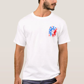 Salpicadura y mascota azules y rojas de Paintball Playera