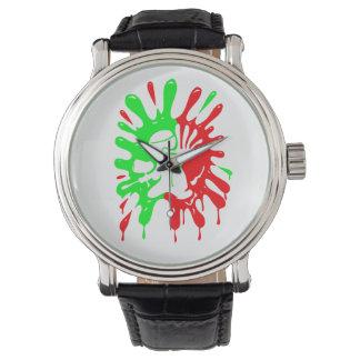 Salpicadura y mascota verdes y rojas de Paintball Relojes De Mano