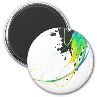 Salpicaduras abstractas de la pintura de aguas fre imán redondo 5 cm