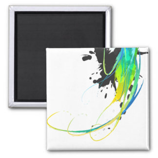 Salpicaduras abstractas de la pintura de aguas fre imán cuadrado