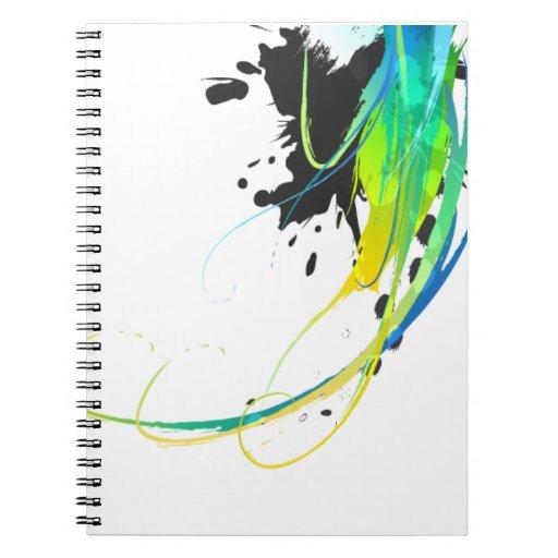 Salpicaduras abstractas de la pintura de aguas fre libro de apuntes