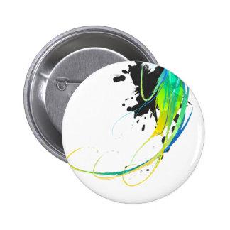 Salpicaduras abstractas de la pintura de aguas fre pin redondo de 2 pulgadas