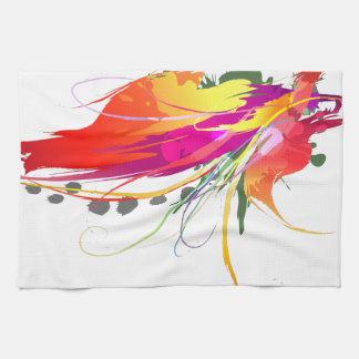 Salpicaduras abstractas de la pintura de la ave de toalla