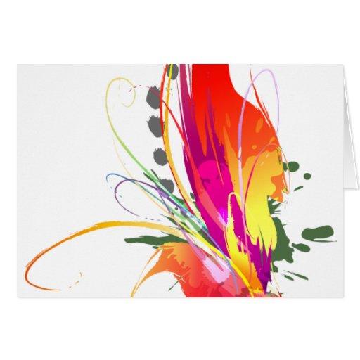 Salpicaduras abstractas de la pintura de la ave de tarjeta de felicitación
