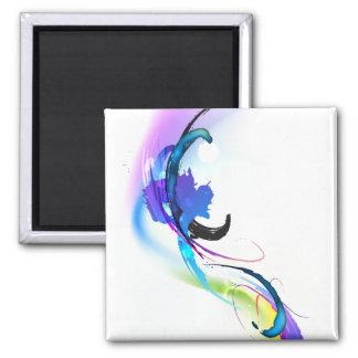 Salpicaduras abstractas de la pintura de la correh imán cuadrado