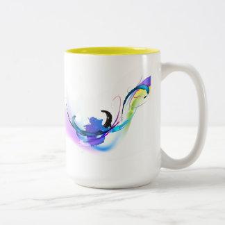 Salpicaduras abstractas de la pintura de la taza de café de dos colores