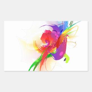 Salpicaduras abstractas de la pintura de Lorikeet Pegatina Rectangular