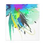 Salpicaduras abstractas de la pintura del pavo rea bloc de papel