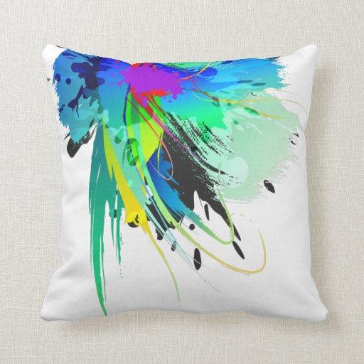 Salpicaduras abstractas de la pintura del pavo rea cojines