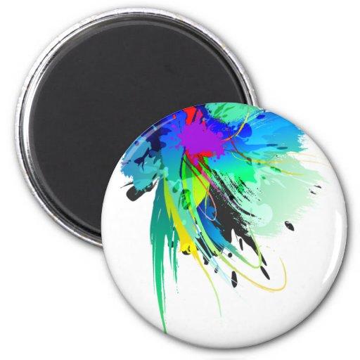 Salpicaduras abstractas de la pintura del pavo rea iman de frigorífico