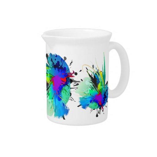 Salpicaduras abstractas de la pintura del pavo rea jarras de beber