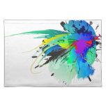Salpicaduras abstractas de la pintura del pavo rea mantel individual