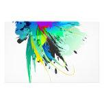 Salpicaduras abstractas de la pintura del pavo rea papelería