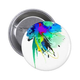 Salpicaduras abstractas de la pintura del pavo rea pin redondo de 2 pulgadas