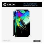 Salpicaduras abstractas de la pintura del pavo rea iPod touch 4G calcomanías