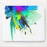 Salpicaduras abstractas de la pintura del pavo rea tapetes de raton