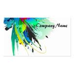 Salpicaduras abstractas de la pintura del pavo rea tarjeta de negocio