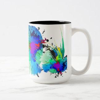 Salpicaduras abstractas de la pintura del pavo taza de dos tonos