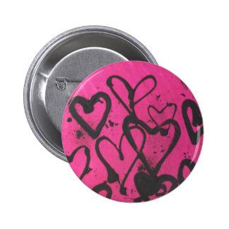 salpicaduras del corazón pin redondo 5 cm