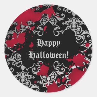 Salpicaduras elegantes de la sangre de Halloween Pegatina Redonda