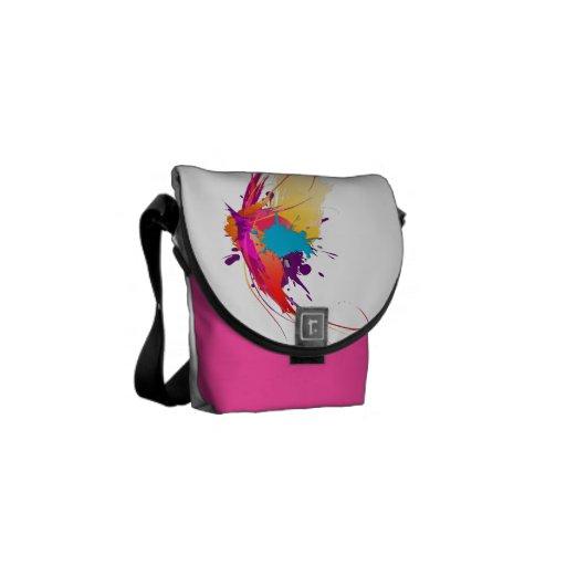 Salpicaduras exóticas abstractas de la pintura de  bolsas de mensajería