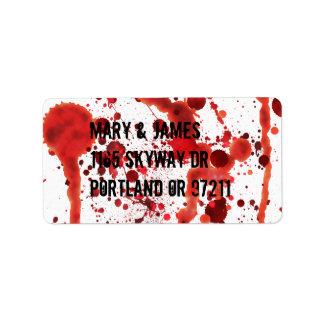 Salpicaduras falsas de la sangre etiqueta de dirección