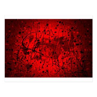 Salpicaduras rojas hermosas del arte abstracto postal