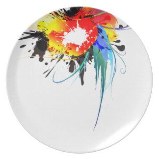 Salpicaduras salvajes abstractas de la pintura del plato de cena