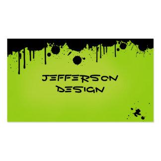 Salpicaduras verdes de neón de la pintura tarjetas de visita