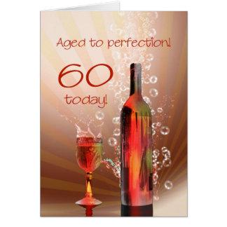 Salpicar la 60.a tarjeta de cumpleaños del vino