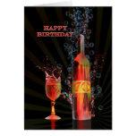 Salpicar la 70.a tarjeta de cumpleaños del vino