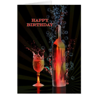 Salpicar la tarjeta de cumpleaños del vino