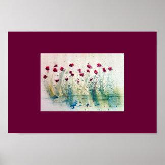 Salpicón floreciente de la acuarela poster