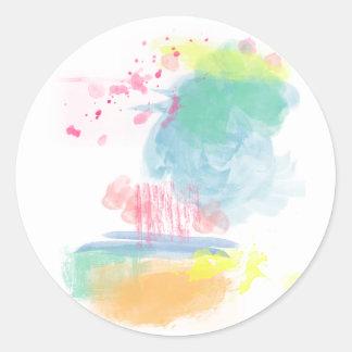 Salpicones vibrantes, coloridos de la acuarela pegatina redonda